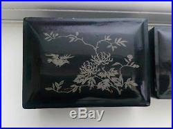 Antique Chinese Foochow Hwami Ware Black Lacquered Silver 5 Wooden Nesting Boxes