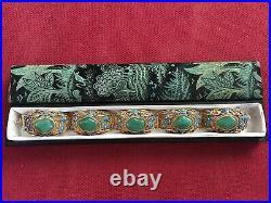 Antique Chinese Gilded Sterling Silver Enamel Bracelet Original Box