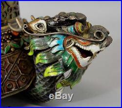 Antique Chinese Gilt Silver Jade Enamel Cloisonne Dragon Cigarette Box & Ashtray