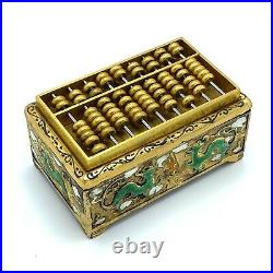 Antique Chinese Gilt and Enameled Silver Snuff Box with Abacus Lid