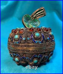 Antique Chinese Gold Gilt Silver Filigree Jeweled Enamel Figural Box