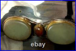 Antique Chinese Green Hardstone Silverplate Wood Box D58-06