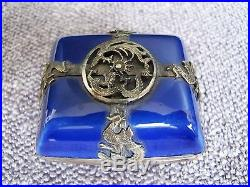 Antique Chinese Guangxu Porcelain with Sterling Silver Dragon Overlay Box