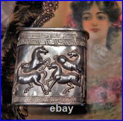 Antique Chinese Hallmark Sterling Silver Repousse Horses Tall Snuff Box 71.4g