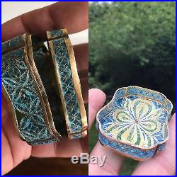 Antique Chinese Japanese Style Enamel Solid Silver Filigree Snuff Box Pill Case