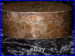 Antique Chinese Niello Enameled Silver Copper Inlay Opium Box Bat Dragon Signed
