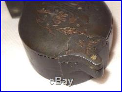 Antique Chinese Pewter Niello Enameled Silver Inlay Opium Stash Box