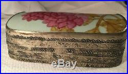 Antique Chinese Porcelain Shard Silver Plated Box with Pink Peony