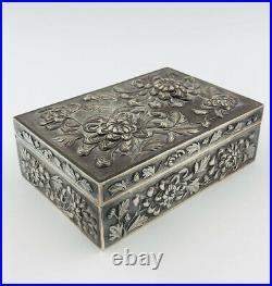 Antique Chinese SHANGHAI Export Silver Luen Wo Flower Repousse Cigar Box 523.6g