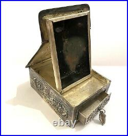 Antique Chinese SHOU LONGEVITY Sgd SILVER REPOUSEE TRAVELING BOX Compact Mirror