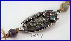 Antique Chinese SILVER & ENAMEL Figural CICADA Victorian CRICKET CAGE + Necklace