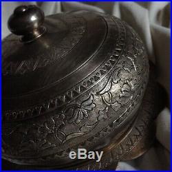 Antique Chinese Silver Box Bonbonier Tea Set Sugar Flower Art Stamped Handmade