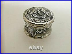 Antique Chinese Silver Chased Raised Pill Box