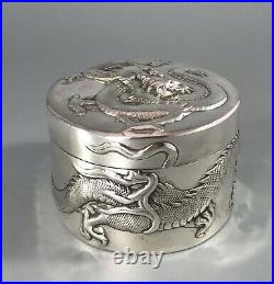 Antique Chinese Silver Dragon Box By Wang Hing 171g BBEZX
