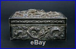 Antique Chinese Silver Dragon Box Makers Hallmark French Flea Market Find