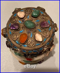 Antique Chinese Silver Enamel Filigree Jade & Precious Stone Box