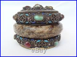 Antique Chinese Silver Enamel Jeweled Filigree Hardstone Bracelet Tea Caddy Box