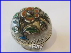 Antique Chinese Silver & Enamel Pill Box
