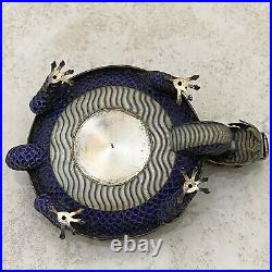 Antique Chinese Silver Enameled Silver & Jade Dragon Ashtray