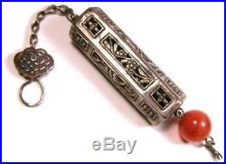 Antique Chinese Silver Figural Sash Belt Needle Box Pendant with Agate Drop