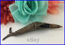 Antique Chinese Silver Fish Pendant Pill Box Turquoise articulated filigree. 800