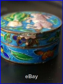 Antique Chinese Silver Gilt Cloisonne Enamel Bunny Rabbit Snuff Pill Box Hinged