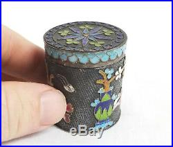 Antique Chinese Silver Hallmarked Enamel Small Snuff Box Scholar's Objects
