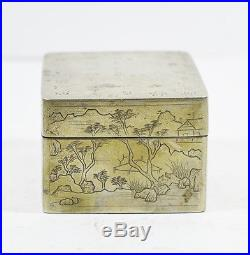 Antique Chinese Silver Ink Box Inkstone & Calligraphy Signed