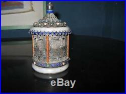 Antique Chinese Silver Jade Bracelet Cloisonne Enamel Jar Box Temple Form Stones