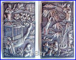 Antique Chinese Silver Lancet Case Medical Surgical Box w origl Lancets (#4880)