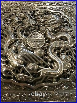 Antique Chinese Silver Openwork Repousee Box