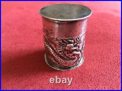 Antique Chinese Silver Opium Box Repousse Dragon Relief