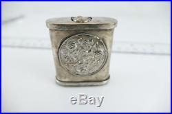 Antique Chinese Silver Opium Stash Box with Erotic Scenes RARE