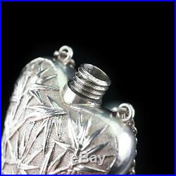 Antique Chinese Silver Perfume Bottle Wang Hing c. 1880