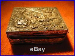 Antique Chinese Silver Plate Dragon Jewelry Box Chinese Trinket Box Circa 1900