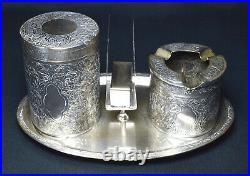 Antique Chinese Silver Plate Paktong Smokers Set c1900