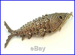 Antique Chinese Silver Turquoise Articulated Filigree Koi Fish Pill Box Pendant