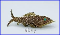Antique Chinese Silver & Turquoise Articulated Fish Charm Pill Box Pendant