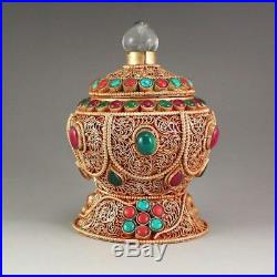 Antique Chinese Silver and Gold Inlay Gem & Crystal Buddhist Sutras Box