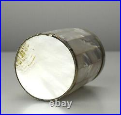 Antique Chinese Silverplated Metal Banded Mother of Pearl Vanity Box