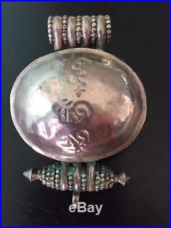 Antique Chinese Sino Tibetan silver repousse red coral Gau Ghau box pendant