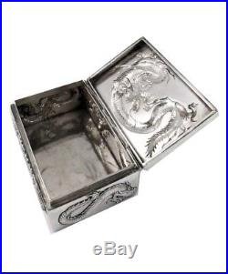 Antique Chinese Solid Silver Dragon Trinket Box by Wang Hing C. 1890 Oriental