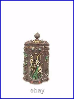 Antique Chinese Solid Silver Enamel Tea Caddy A Museum Piece
