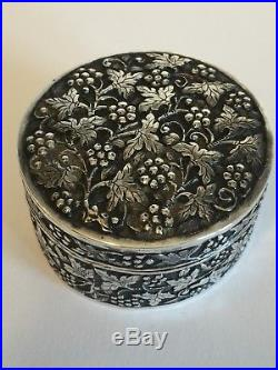 Antique Chinese Solid Silver Repousse Box With Chinese Mark