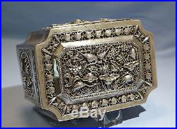 Antique Chinese Sterling Silver Pierced/Reticulated Cricket/Potpourri Box 1920s