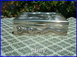 Antique Chinese Sterling With Repousse Dragons Cigar Box 610 Grams