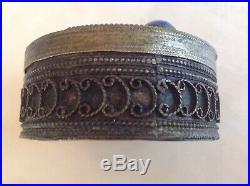 Antique Chinese Tibetan Asian Silver Filigree Pill Box Lapis Lazuli Cabochons 2