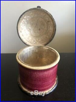Antique Chinese Tibetan Sterling Silver Hammered Dragon Shou Art Jar Box