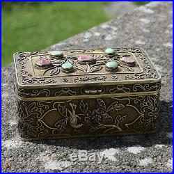 Antique Chinese export silver box filigree work with jade and tourmaline