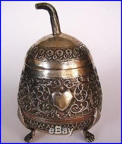 Antique Chinese export silver pear melon box China 19th Century marked PT 90